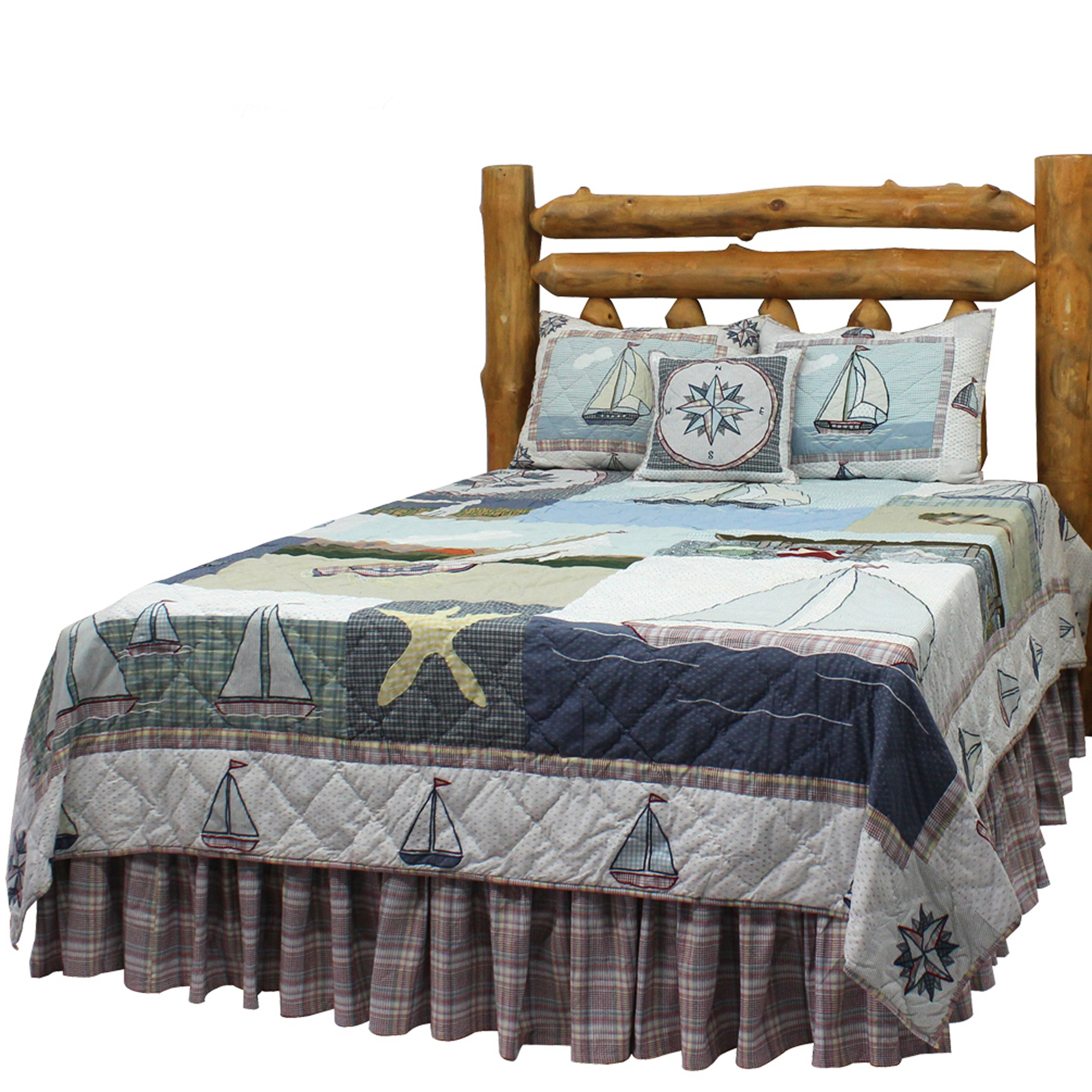 "Nautical Drift Luxury King Quilt 120""W x 106""L"