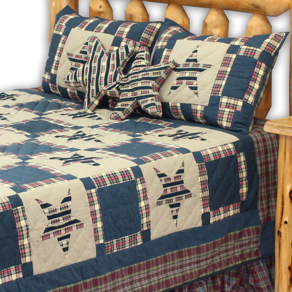 "Tartan Star Luxury King Quilt 120""W x 106""L"