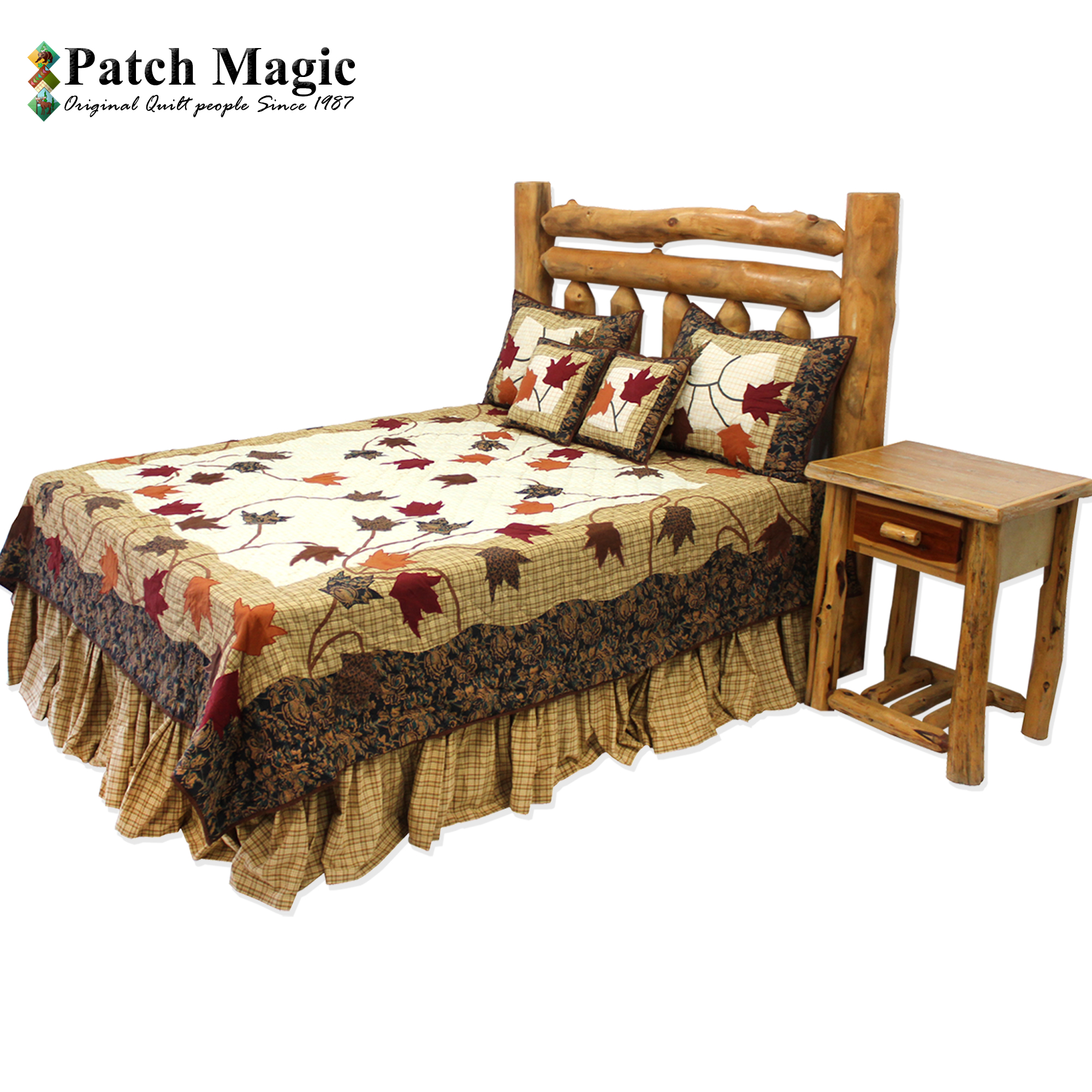 "Autumn Leaves Queen Quilt 85""W x 95""L"