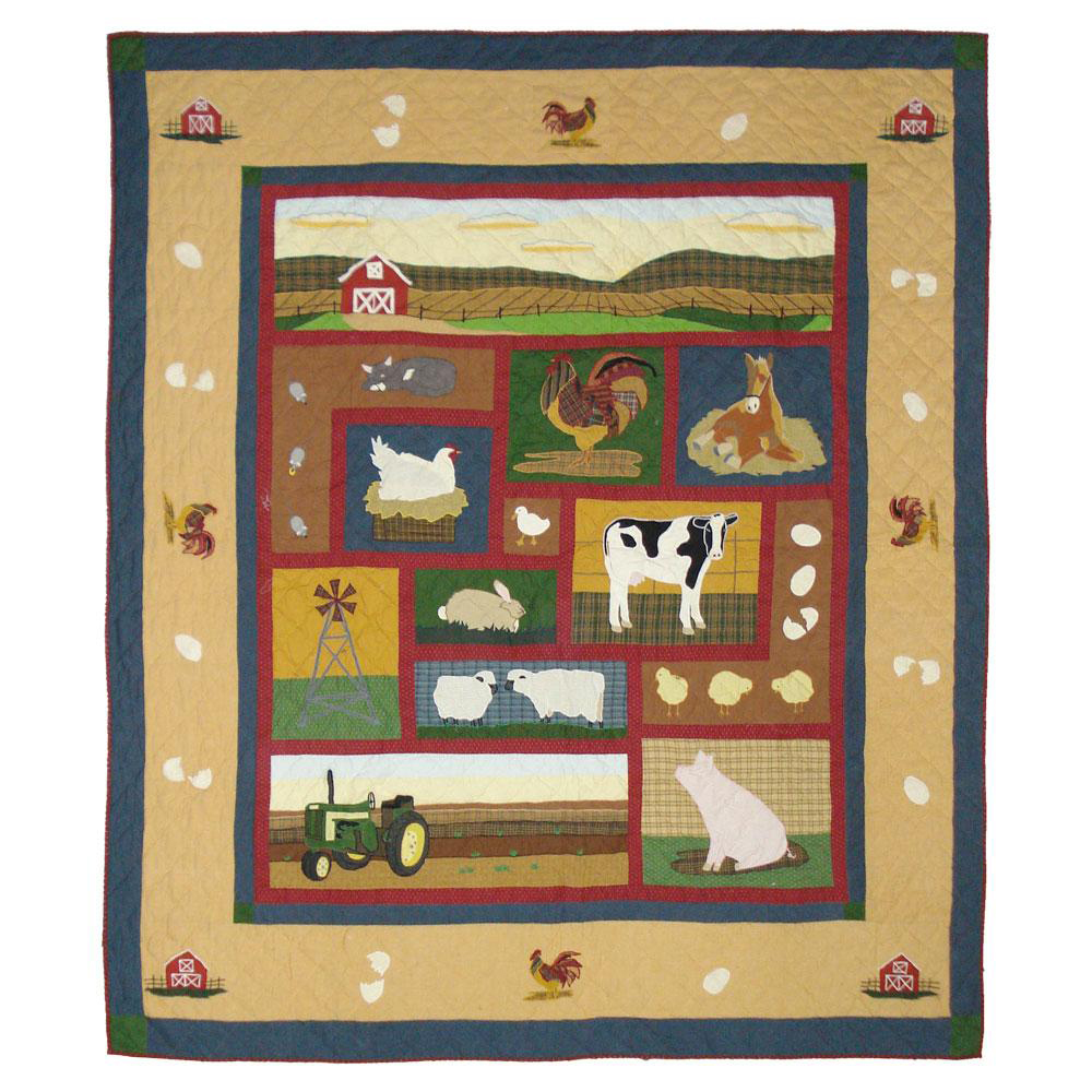 "Barnyard Animals Queen Quilt 85""W x 95""L"
