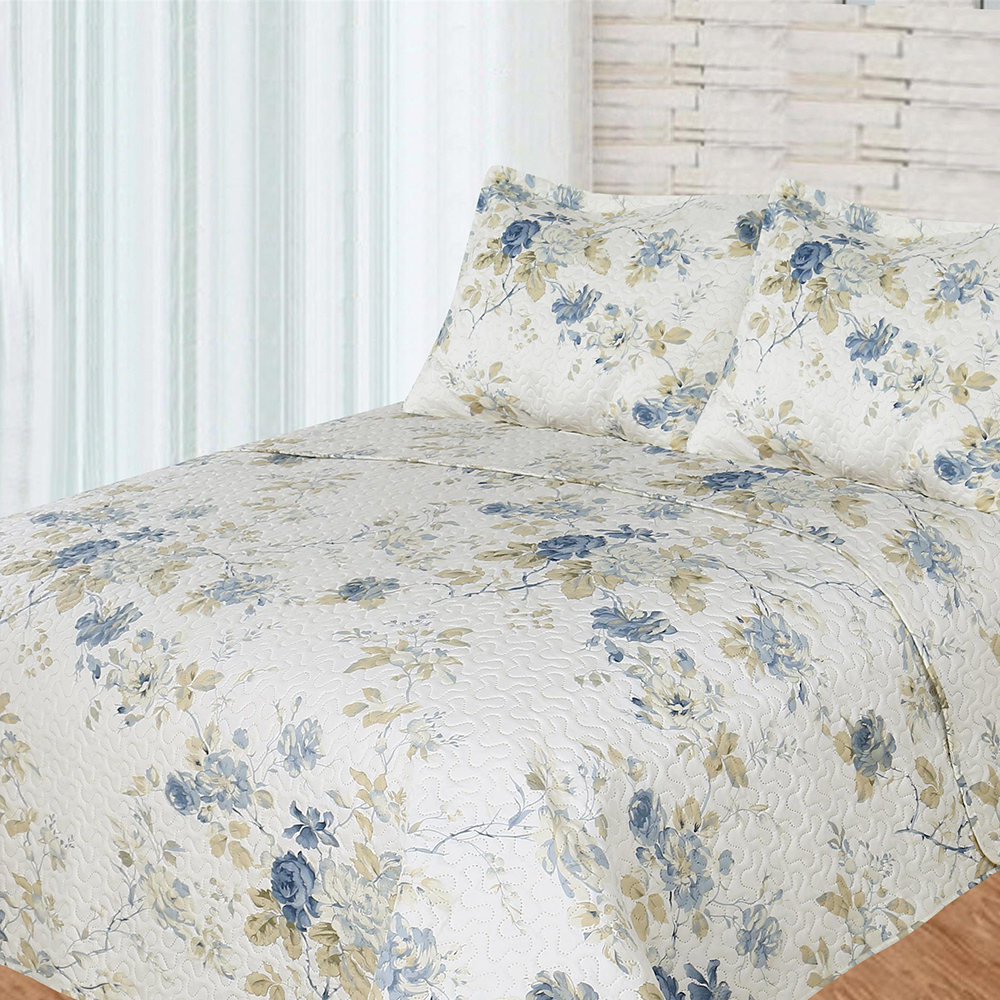"Blue Roses 3 piece set, Quilt Queen-92""x88"", 2-Standard Pillow Shams"