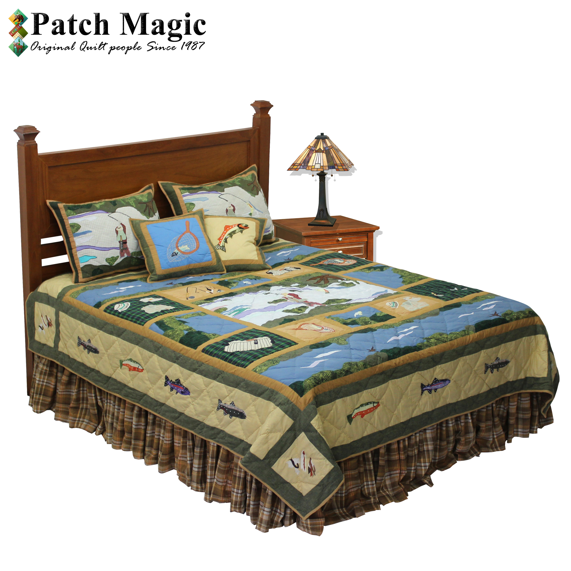"Fly Fishing Queen Quilt 85""W x 95""L"