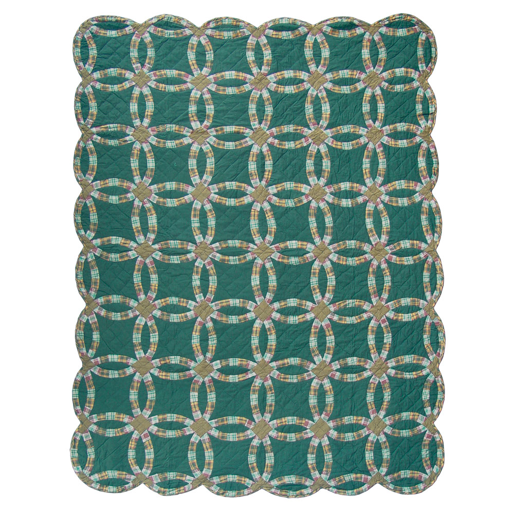 """Green Double Wedding Ring Queen Quilt 85""""W x 95""""L"""