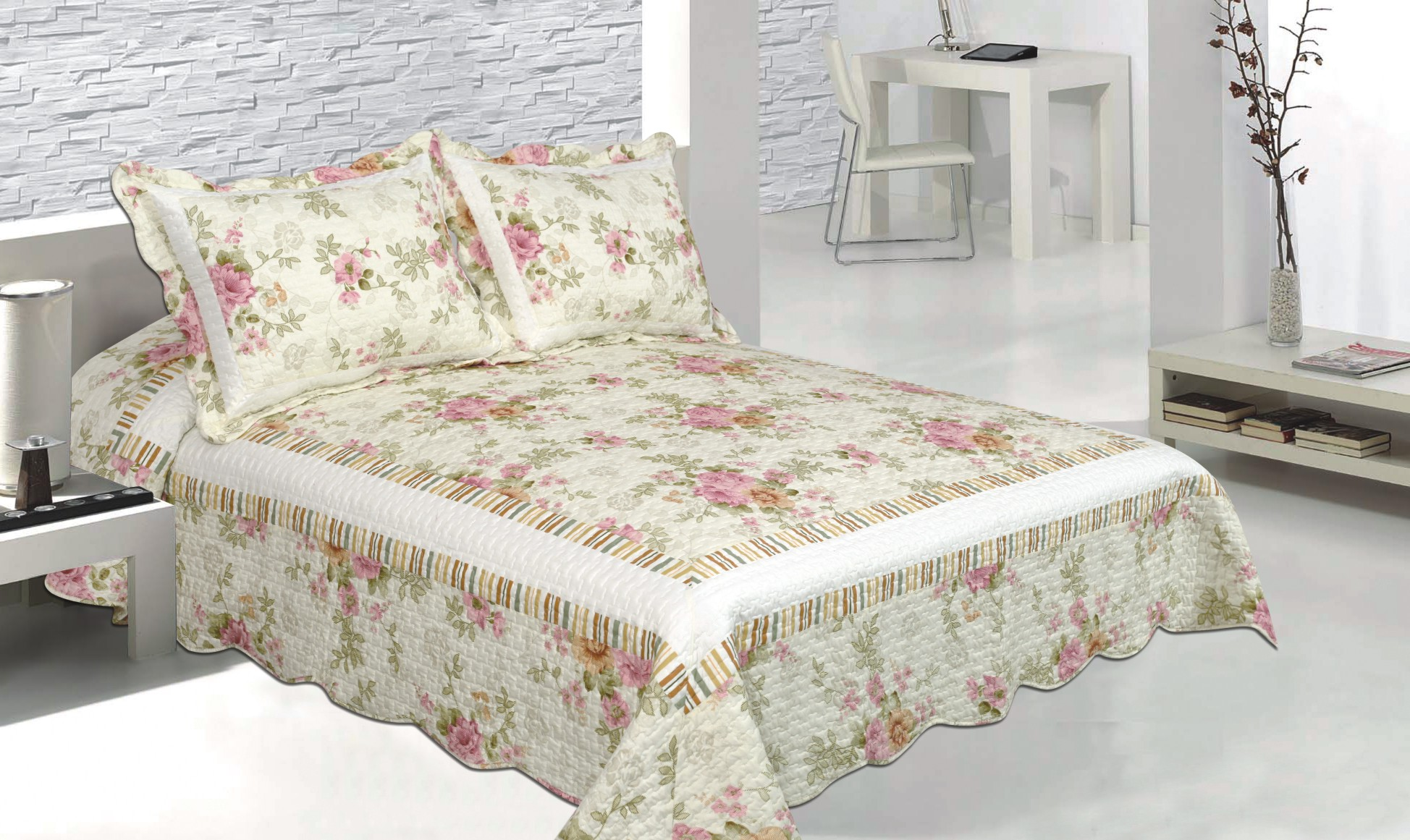 Pretty Pink Vista Quilt with Pillow Shams by Patch Magic