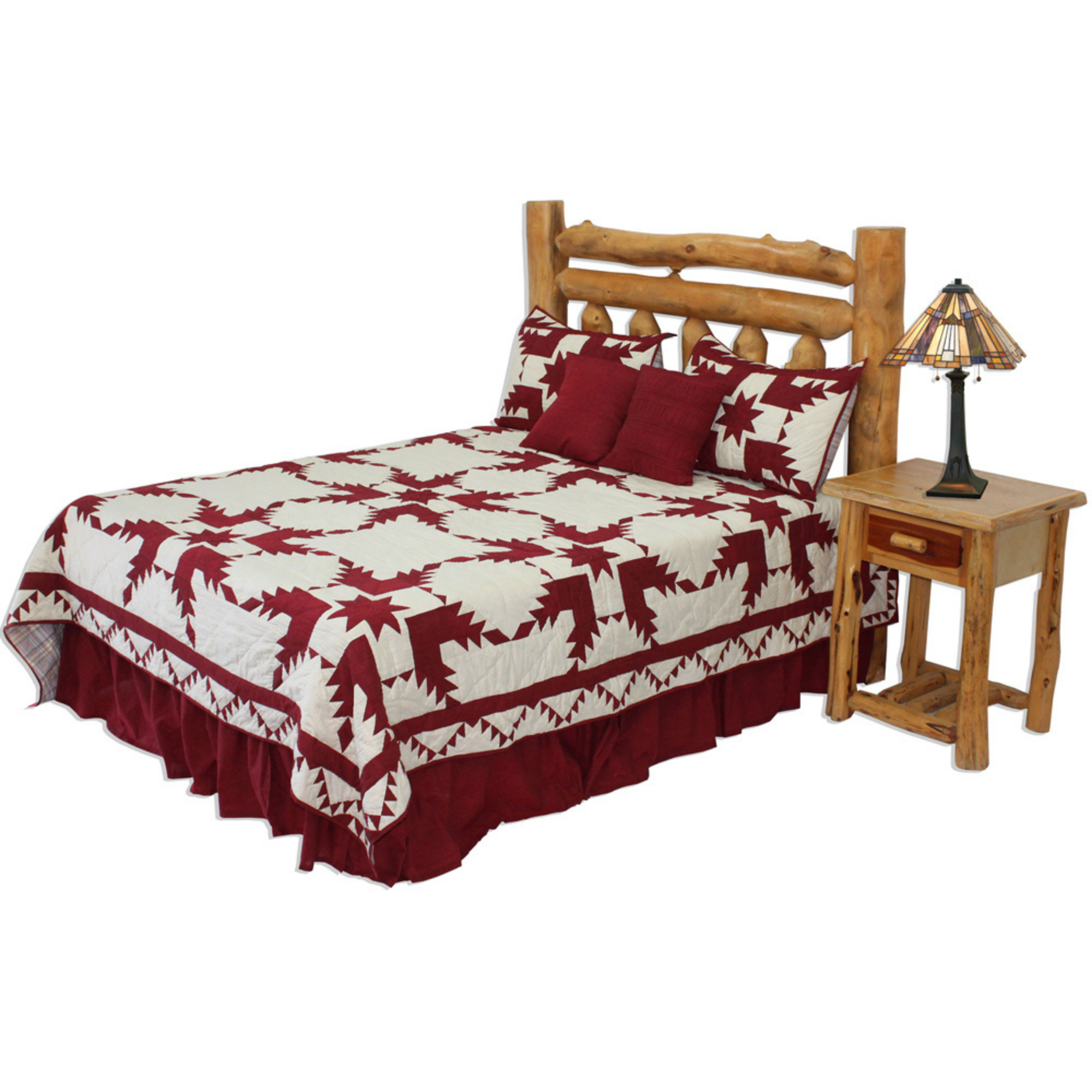 """Red Feathered Star Queen Quilt 85""""W x 95""""L"""