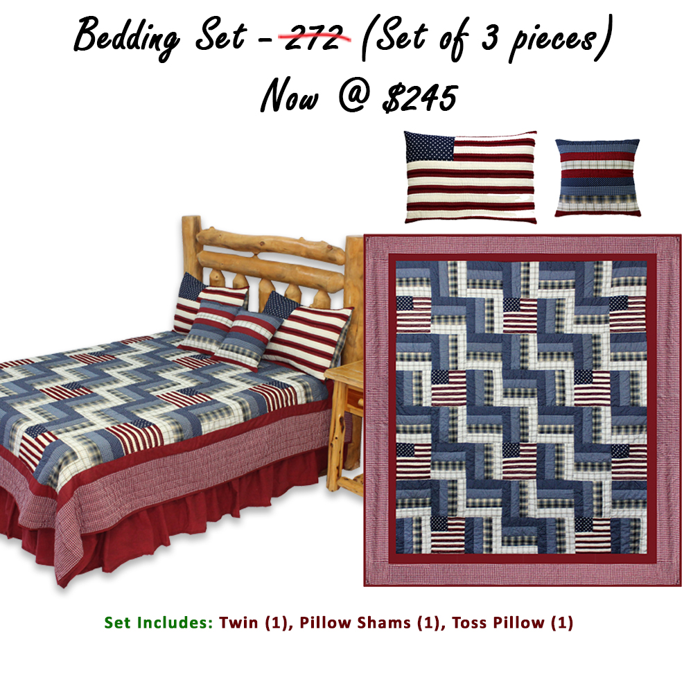 """Glory and Honour Twin Quilt 65""""W x 85""""L (Set of 3 pieces)"""