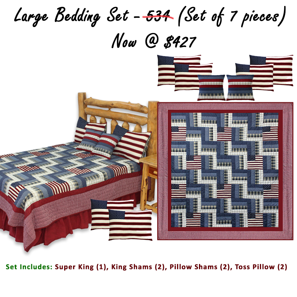 "Glory and Honour Super King Quilt 110""W x 96""L  (Set Of 7 Pieces)"