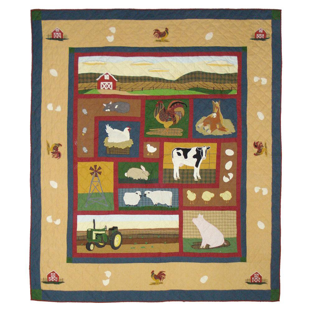 "Barnyard Animals Twin Quilt 65""W x 85""L"