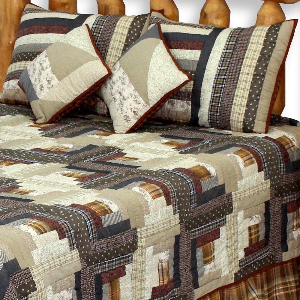 "Express Log Cabin Twin Quilt 65""W x 85""L"
