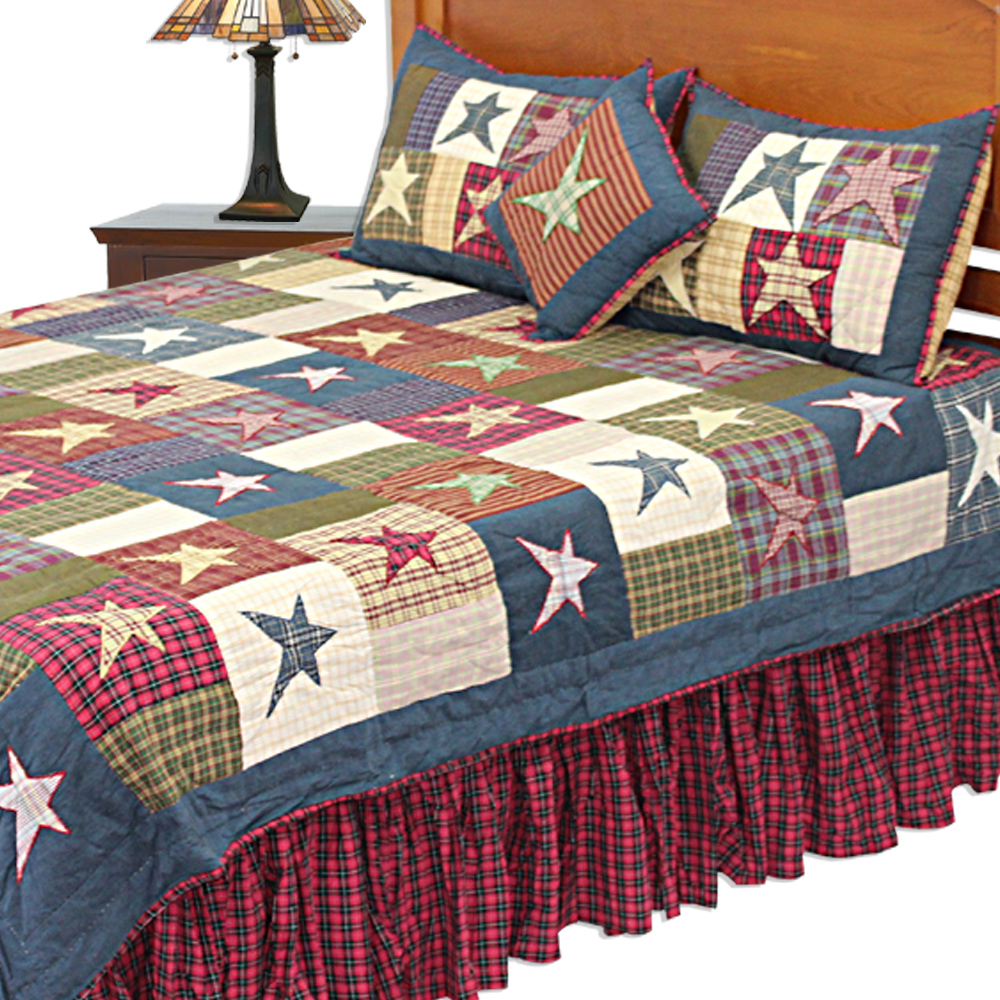 "Homespun Stars Twin Quilt 65""W x 85""L"