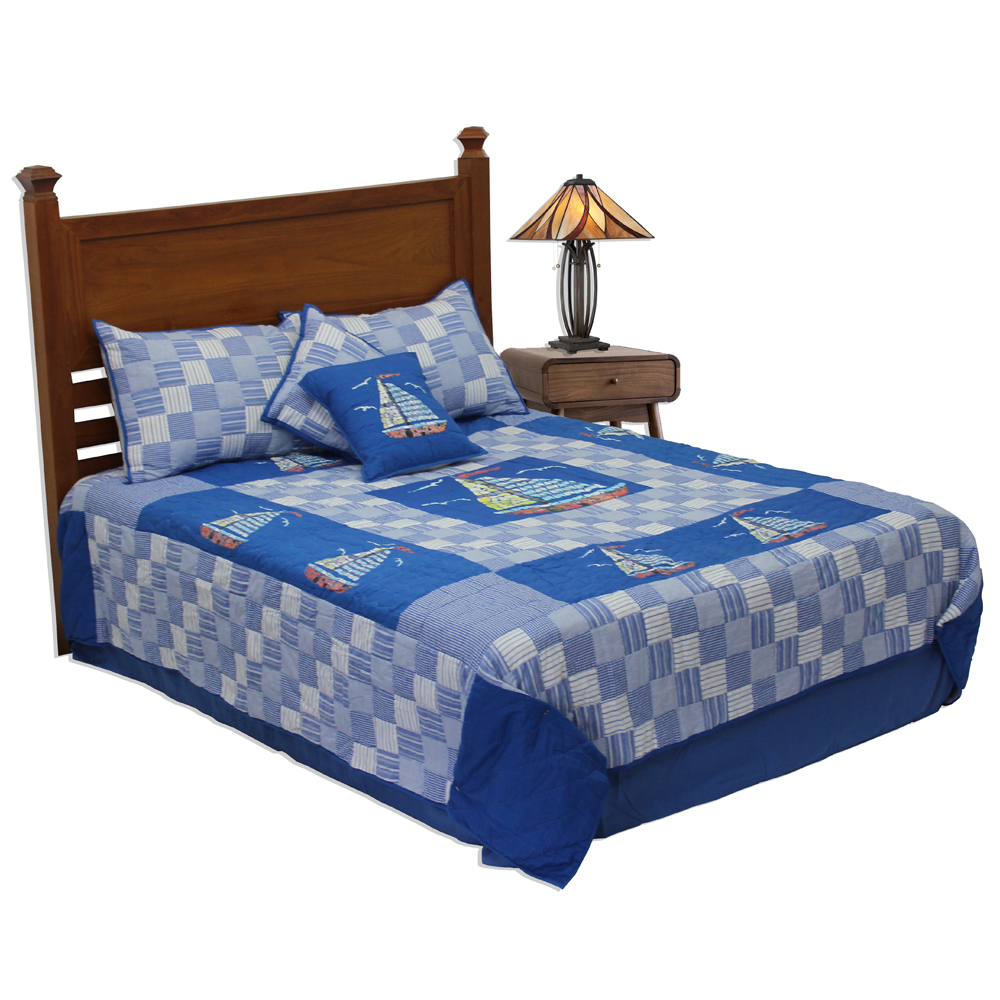 "Blue Sail Twin Quilt 65""W x 85""L"
