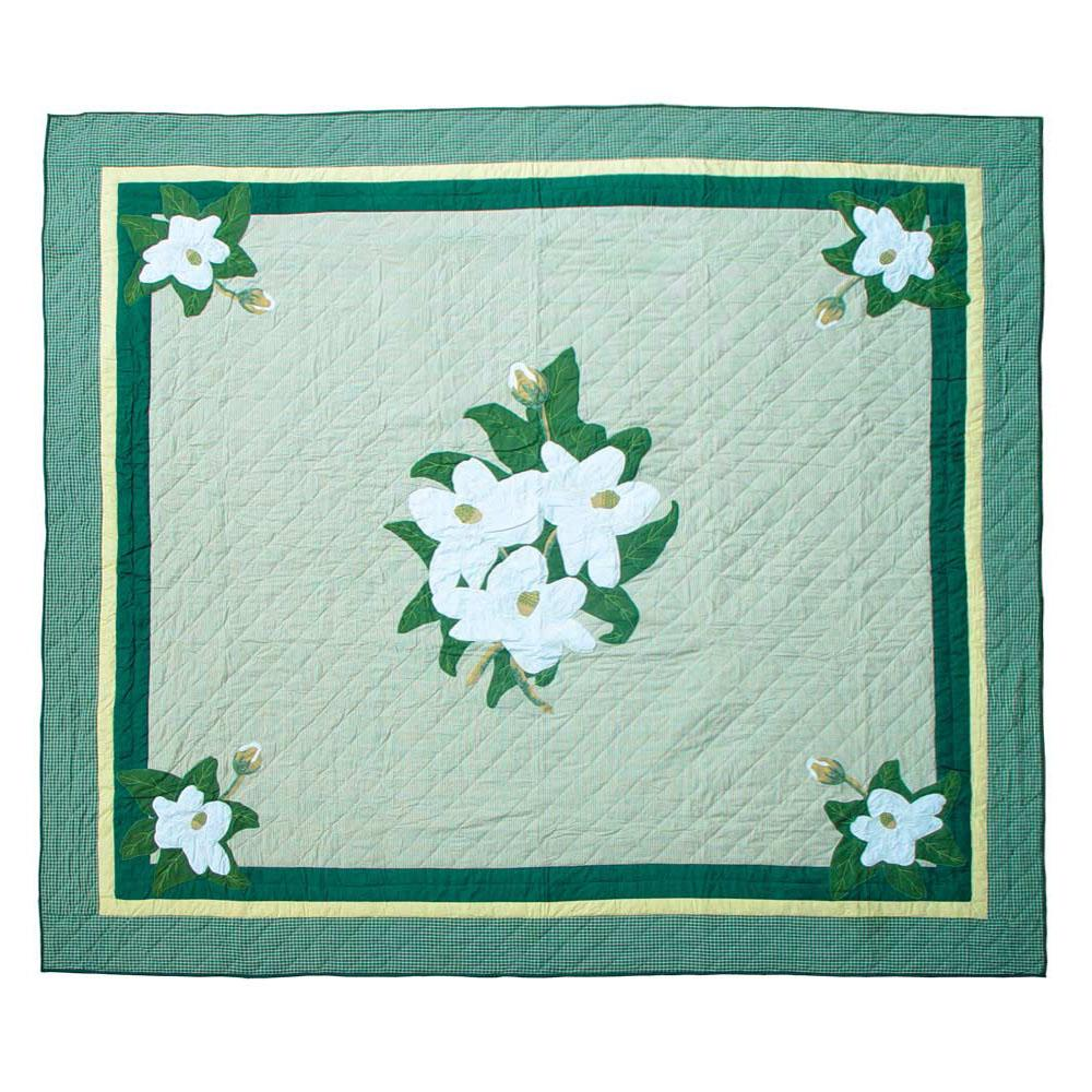 "Magnolia Blossoms Twin Quilt 65""W x 85""L"
