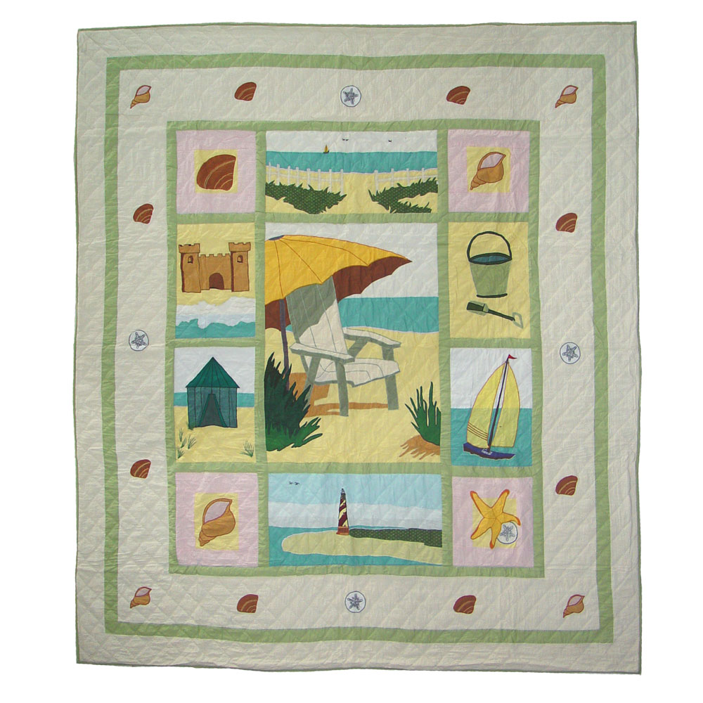 "Ocean View Twin Quilt 65""W x 85""L"
