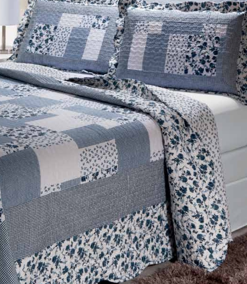 "Periwinkle Dash 2 piece set, quilt twin-65""w x 85""l, 1-standard pillow sham"
