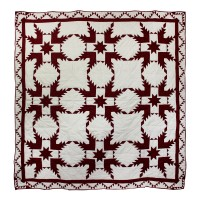 "Ruby Feathered Star Twin Quilt 65""W x 85""L"
