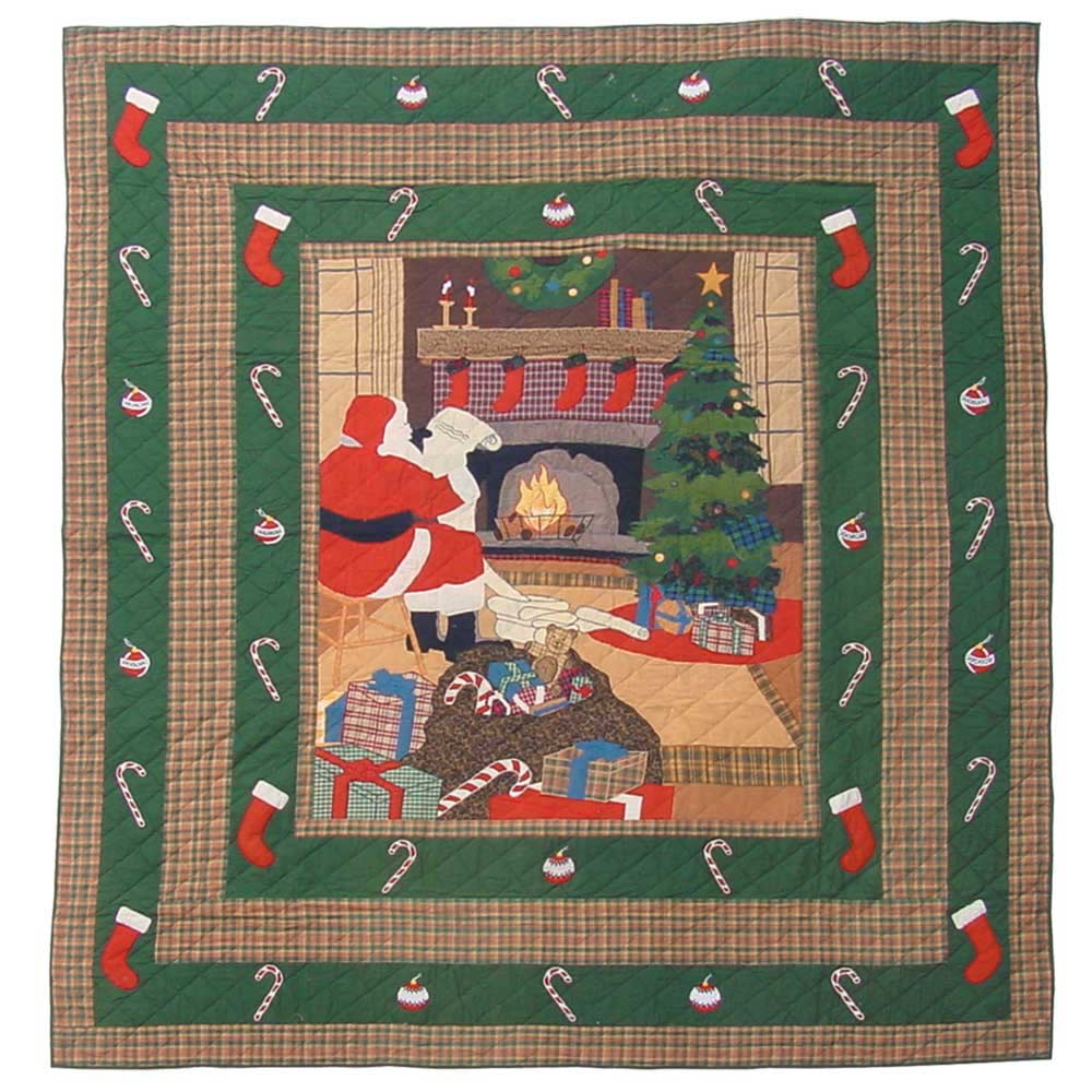 "Santa by the Fireside Twin Quilt 65""W x 85""L"