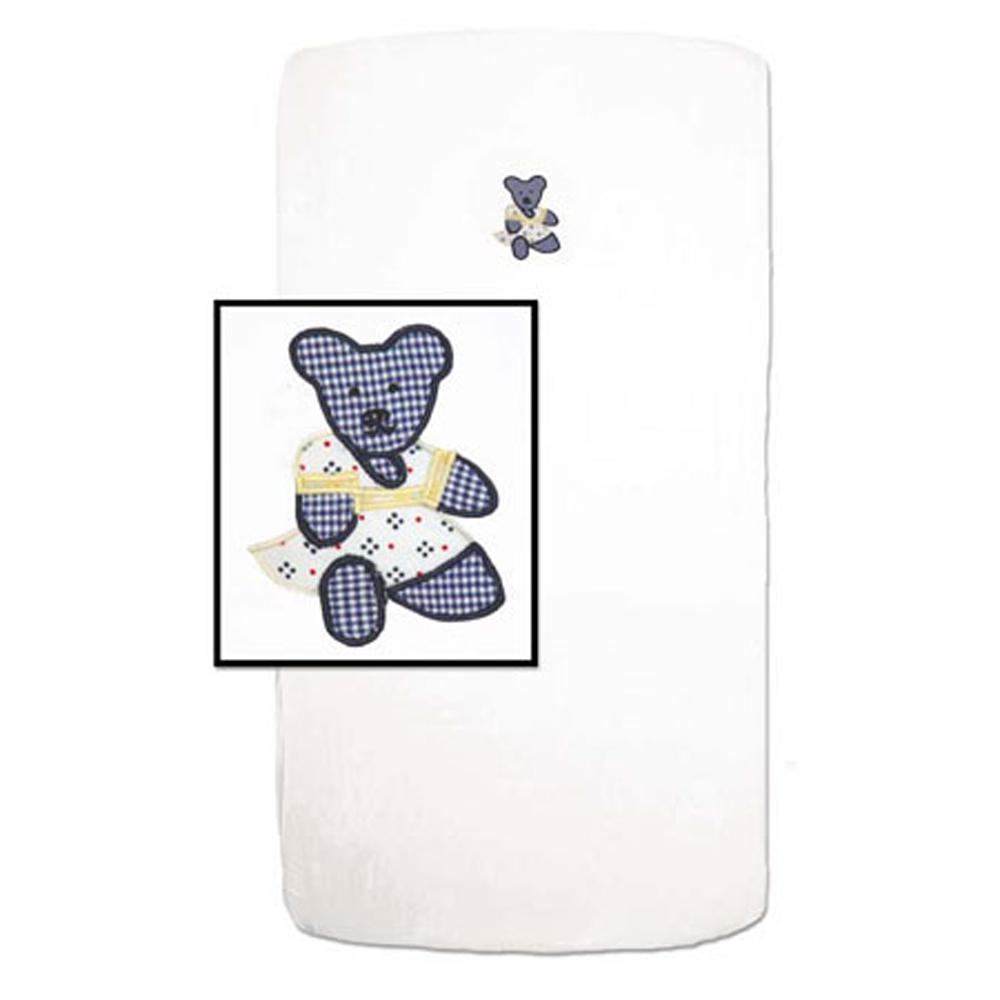 "Blue Teddy Bear Crib Sheet 28""W x 53""L"