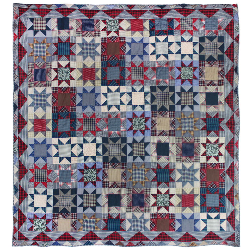 "Denim Burst super king quilt 110""w x 96""l"
