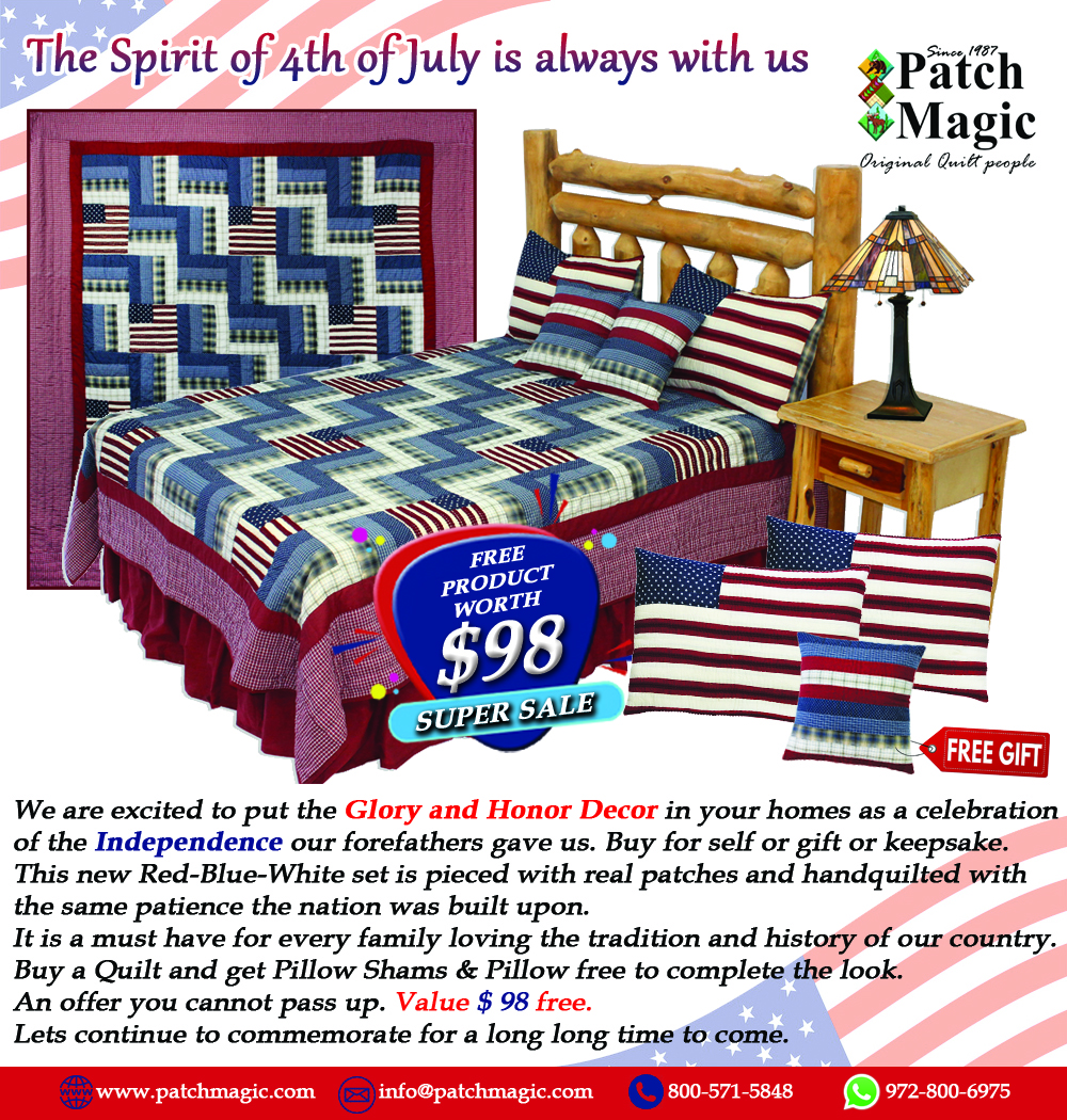 """Glory and Honour Super King Quilt 110""""W x 96""""L With a Shams & Pillow Free!!!!!!"""