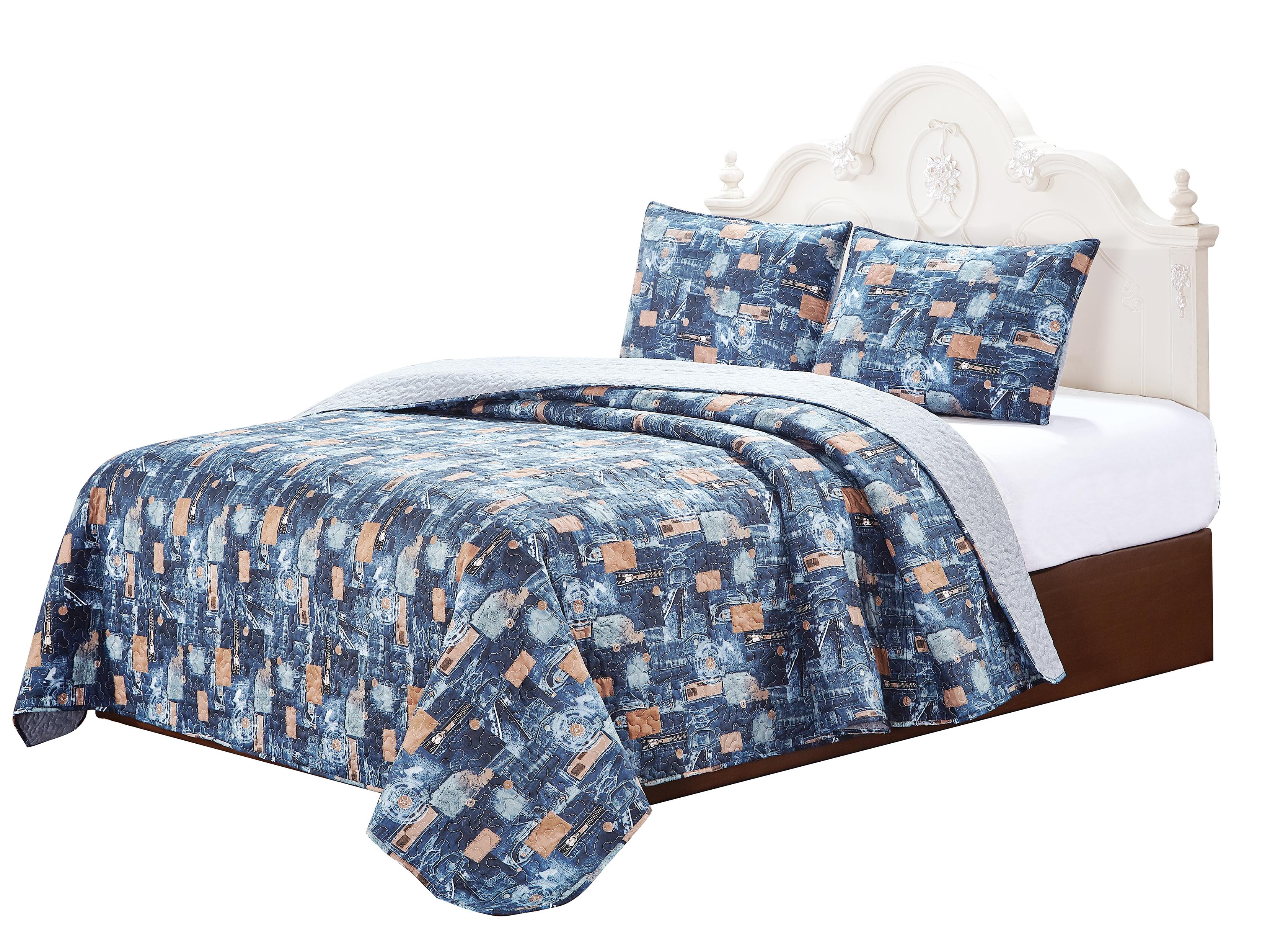 """Scrap Jeans 4 Piece set Super King 103"""" x 111"""" ,3-Standard Pillow Shams"""