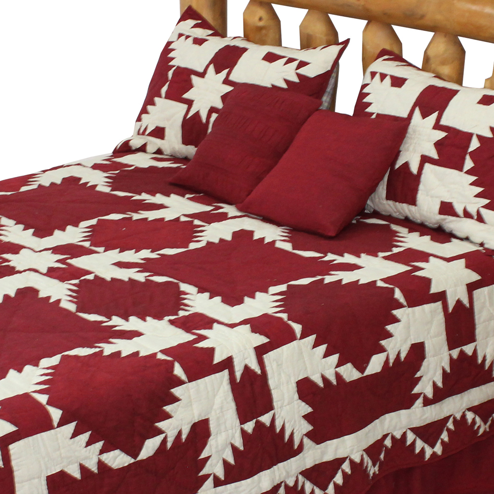 "Red Feathered Star Super King Quilt 110""W x 96""L"