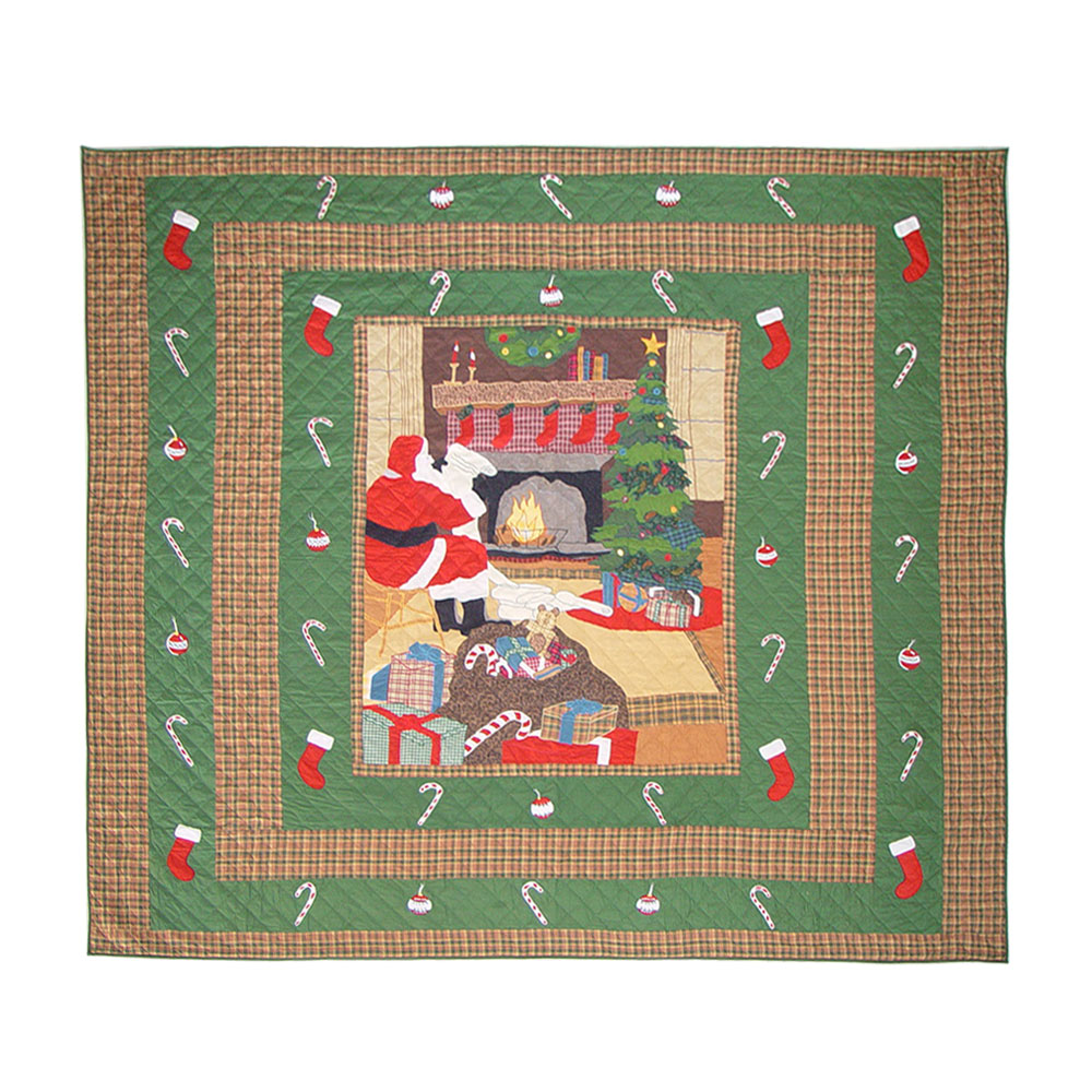 "Santa by the Fireside super king quilt 110""w x 96""l"