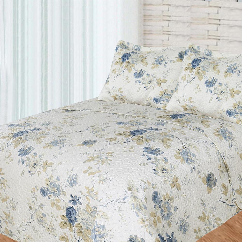 """Blue Roses 3 piece set, Quilt King-108""""x92"""", 2-Standard Pillow Shams"""