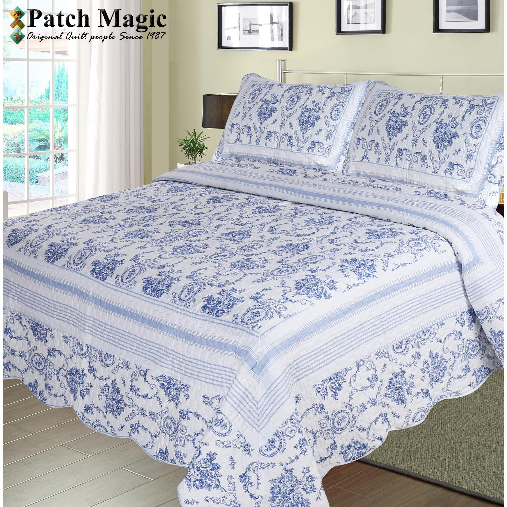 """Blue Wisteria Lattice 3 piece set, super queen-92""""x96"""",2-standard pillow shams"""