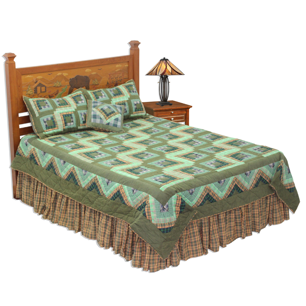 "Green Log Cabin Super Queen Quilt 92""W x 96""L"