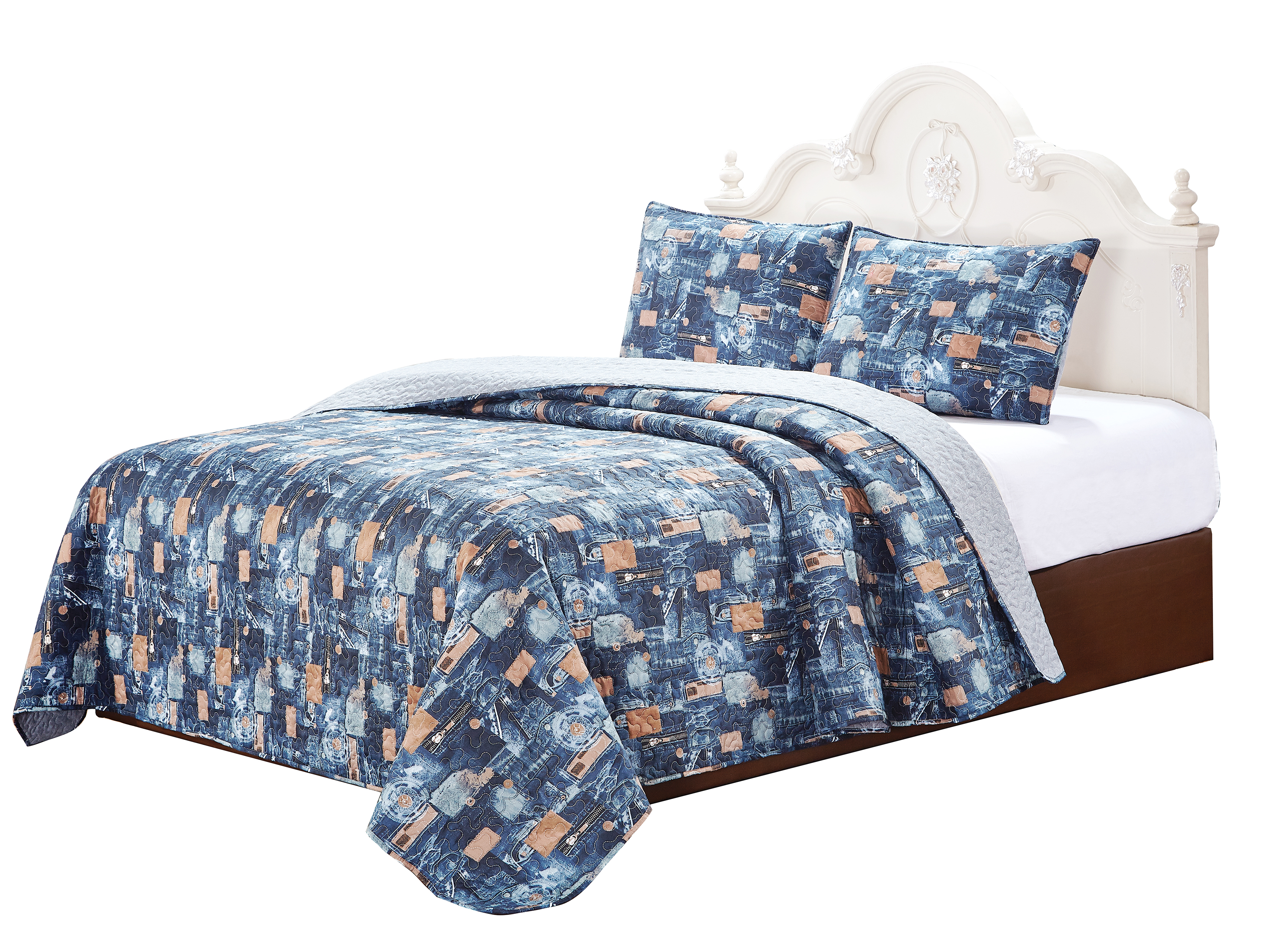 "Scrap Jeans 3 Piece Set Super Queen-92""W x 96""L ,2 Standard Pillow Shams"