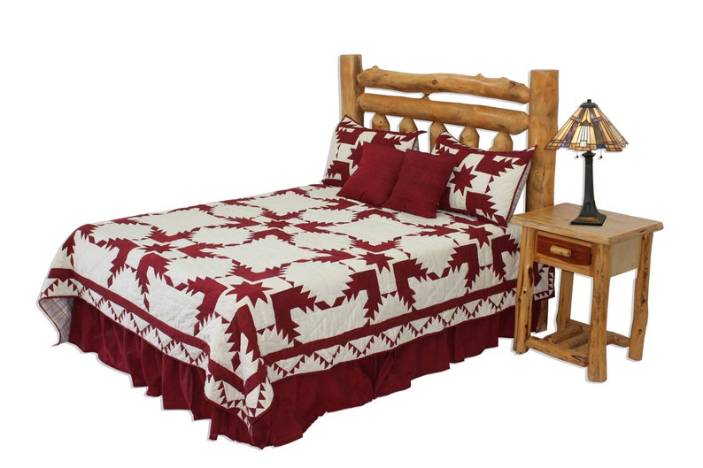 "Red Feathered Star Super Queen Quilt 92""w x 96""l"