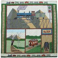 "Train super queen quilt 92""w x 96""l"