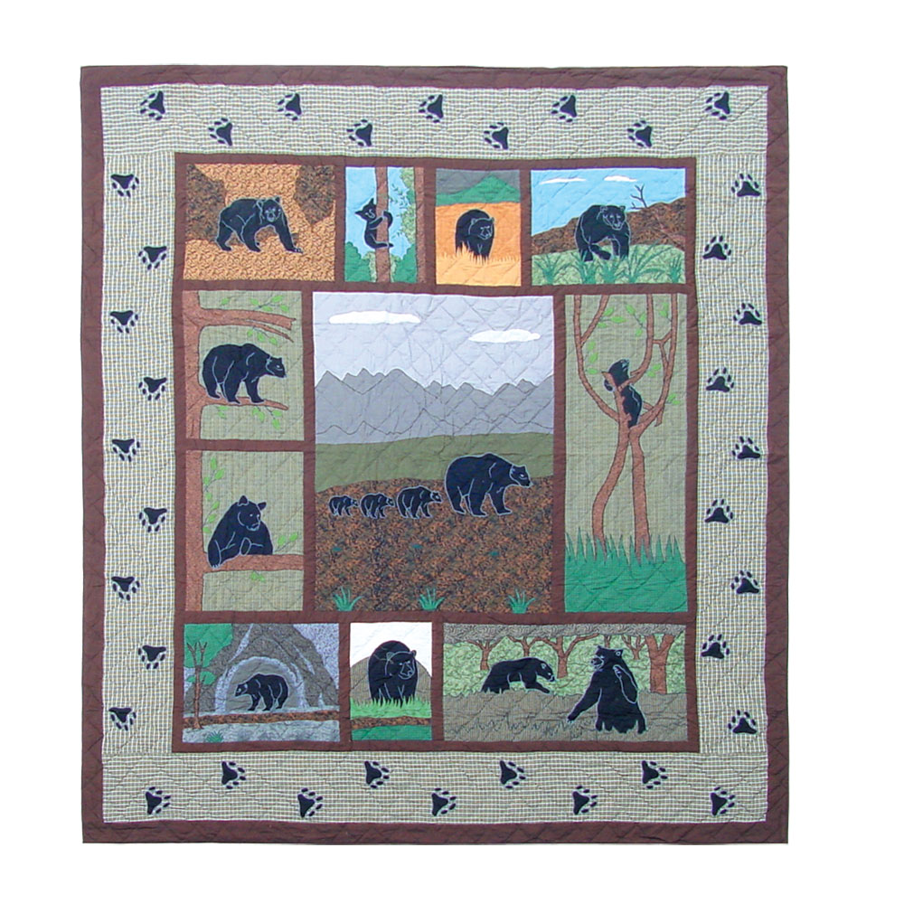"Bear Country Super Twin Quilt 72""W x 90""L"