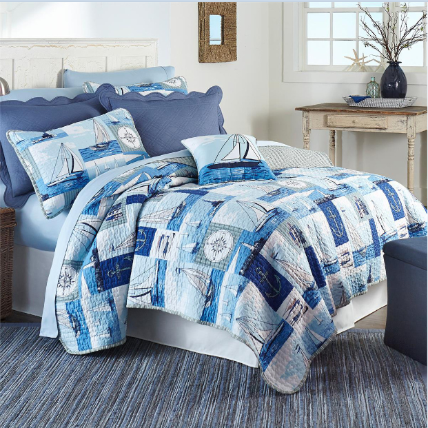 "Boats on Sail 3 piece set, full/twin-75""x90"", 2-standard pillow shams"