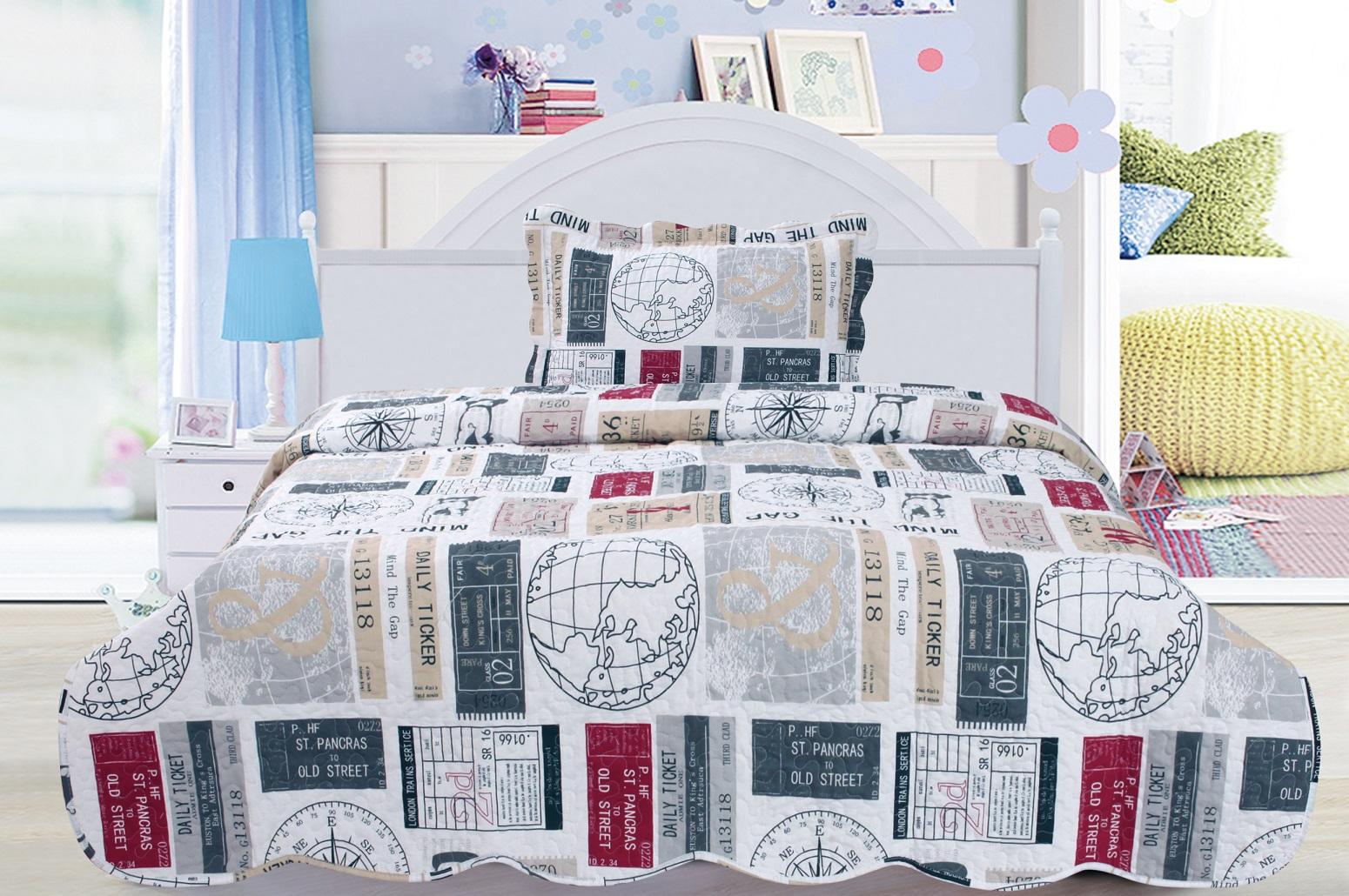 "Mind the Gap 3 piece set, full/twin-75""x90"", 2-standard pillow shams"