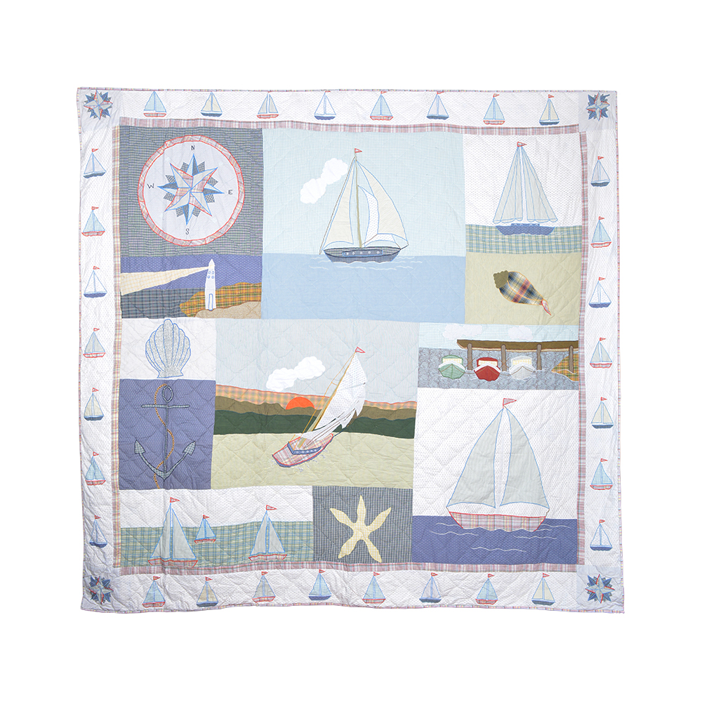 "Nautical Drift super twin quilt 72""w x 90""l"