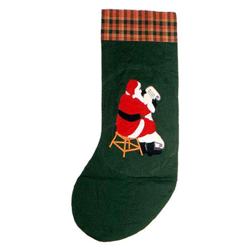"Santa by the Fireside Stocking 8""W x 21""L"