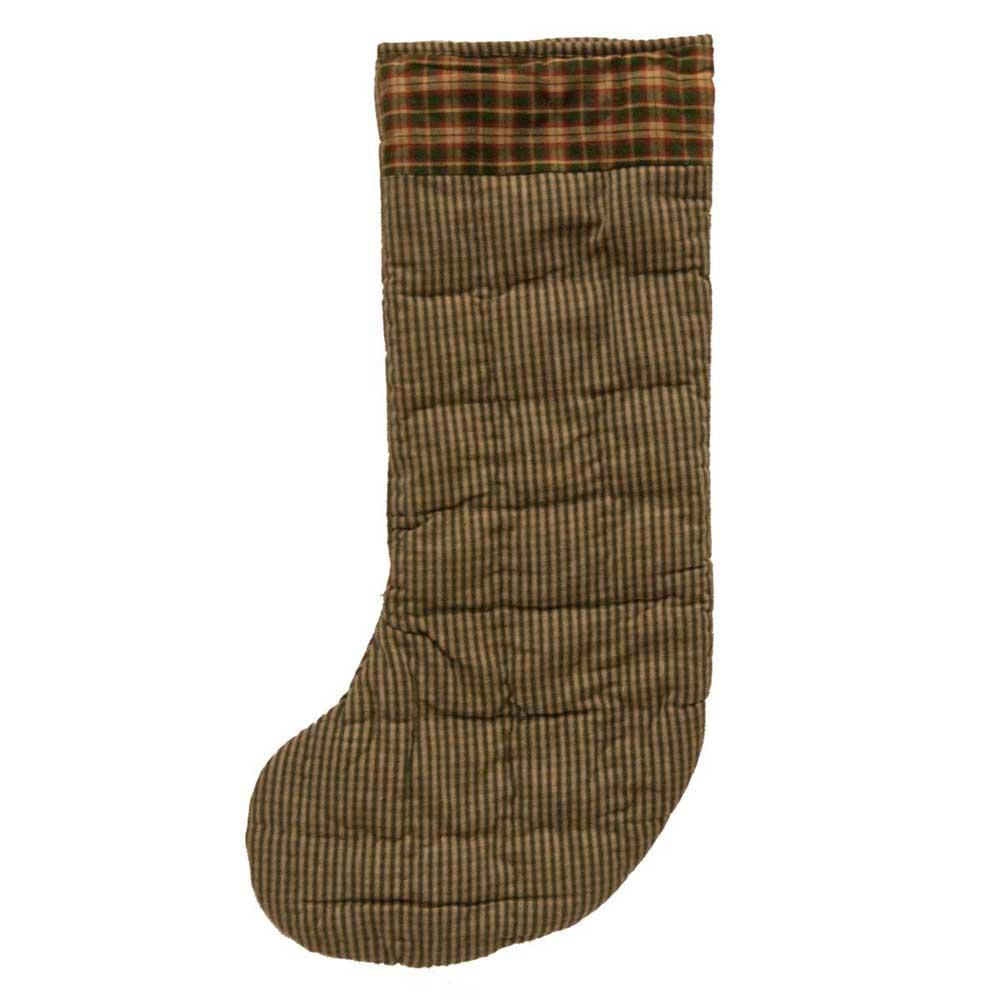 "Hunter green & tan homespun checks Stocking 8""W x 21""L"