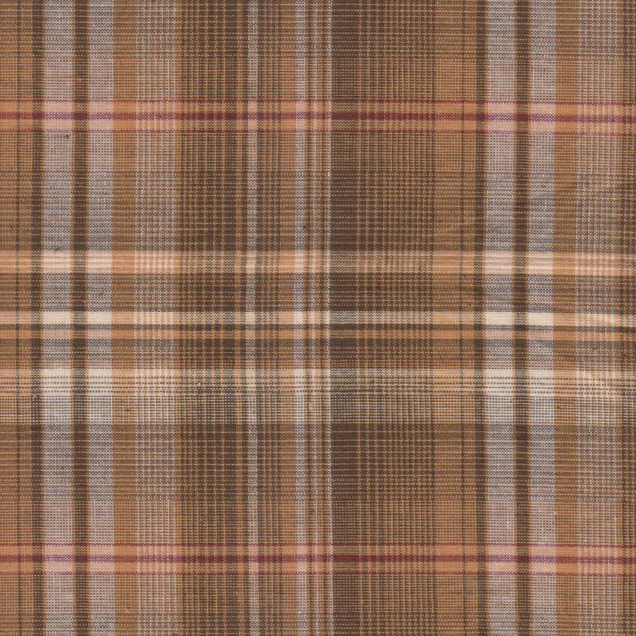 "Dark and Light Brown Plaid Fabric Swatch 4"" x 4"""