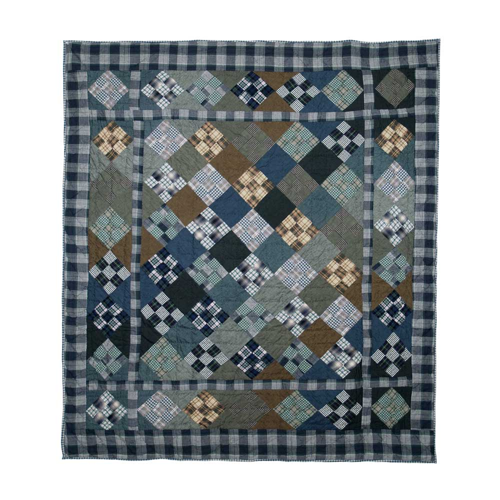"Chambray Nine Patch Throw 50""W x 60""L"