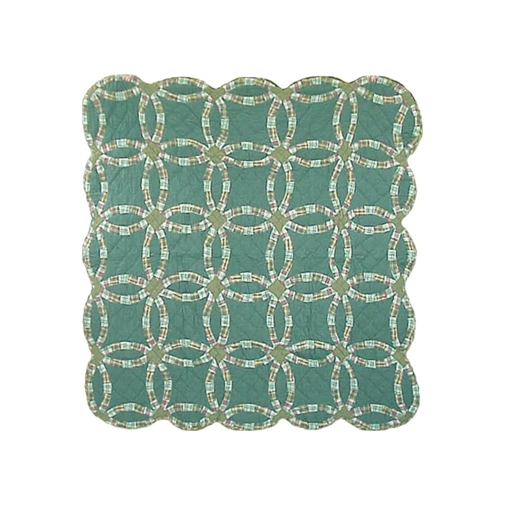 "Green Double Wedding Ring Throw 50""W x 60""L"