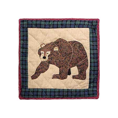 "Cabin Bear Toss Pillow 16""W x 16""L"