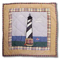 "By the Bay Black n White Lighthouse Toss Pillow 16""W x 16""L"