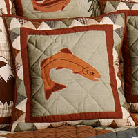 "Mountain Whispers fish Toss Pillow 16""W x 16""L"