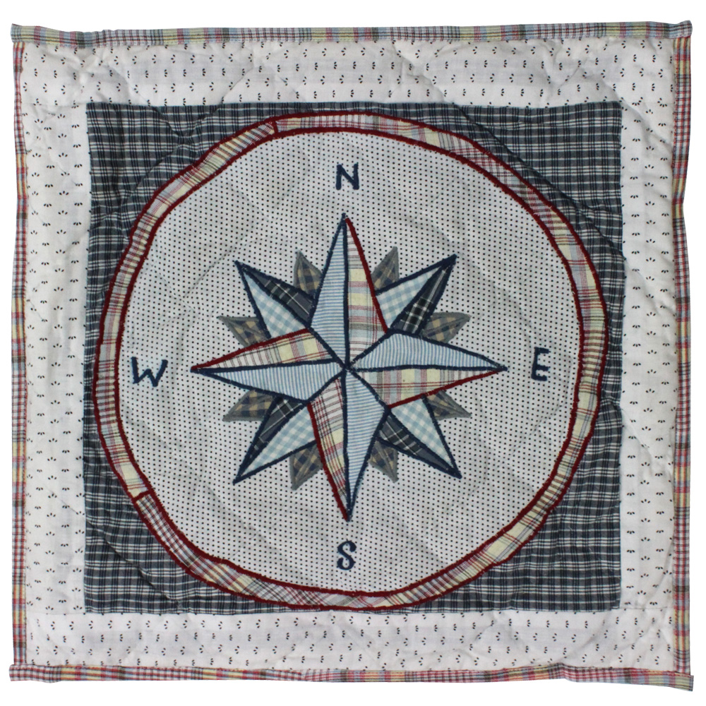 "Nautical Drift compass Toss Pillow 16""W x 16""L"