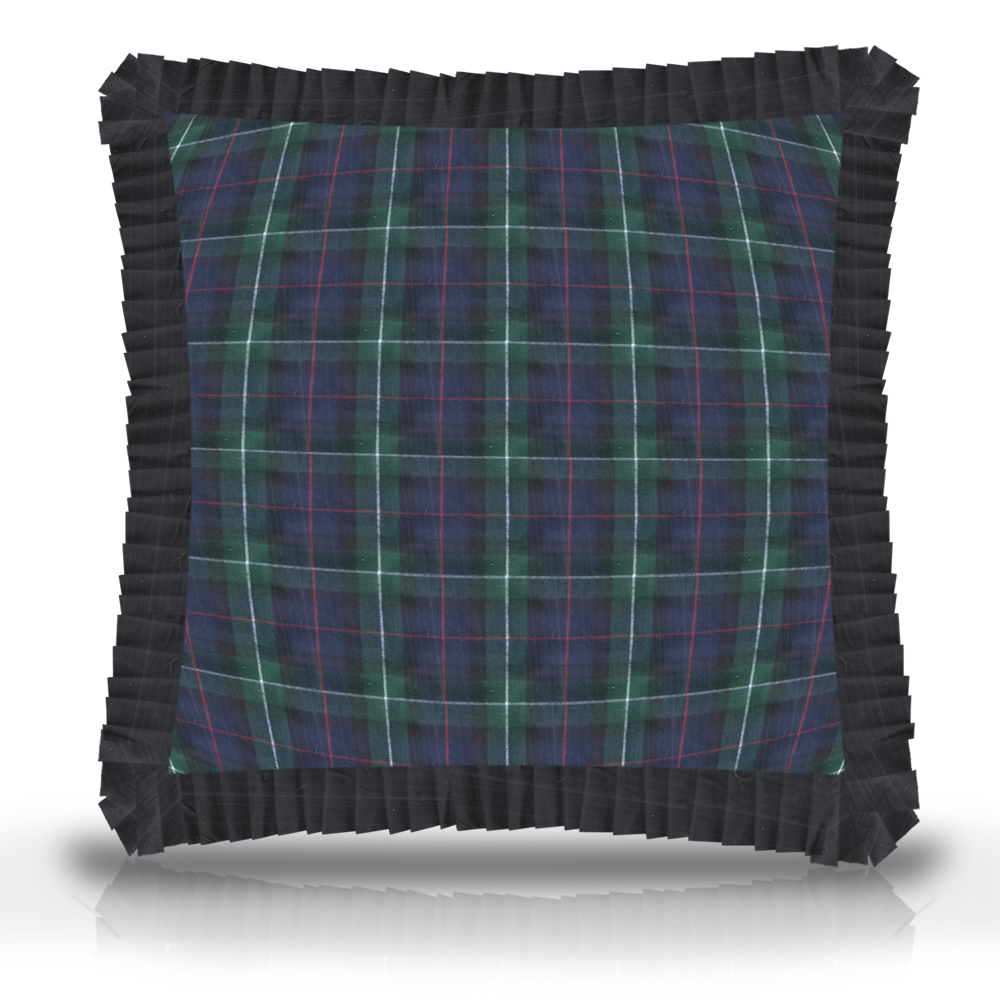 "Tartan Plaid,fabric toss pillow16""w x 16""l, ruffled"