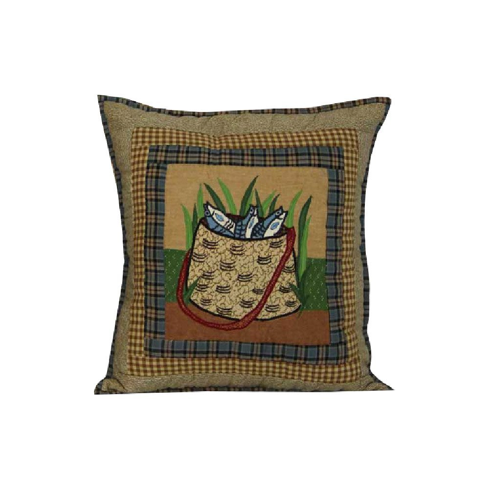 "Gone Fishing Bag Toss Pillow 16""W x 16""L"