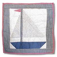 "Nautical Drift sail & boat Toss Pillow 16""W x 16""L"