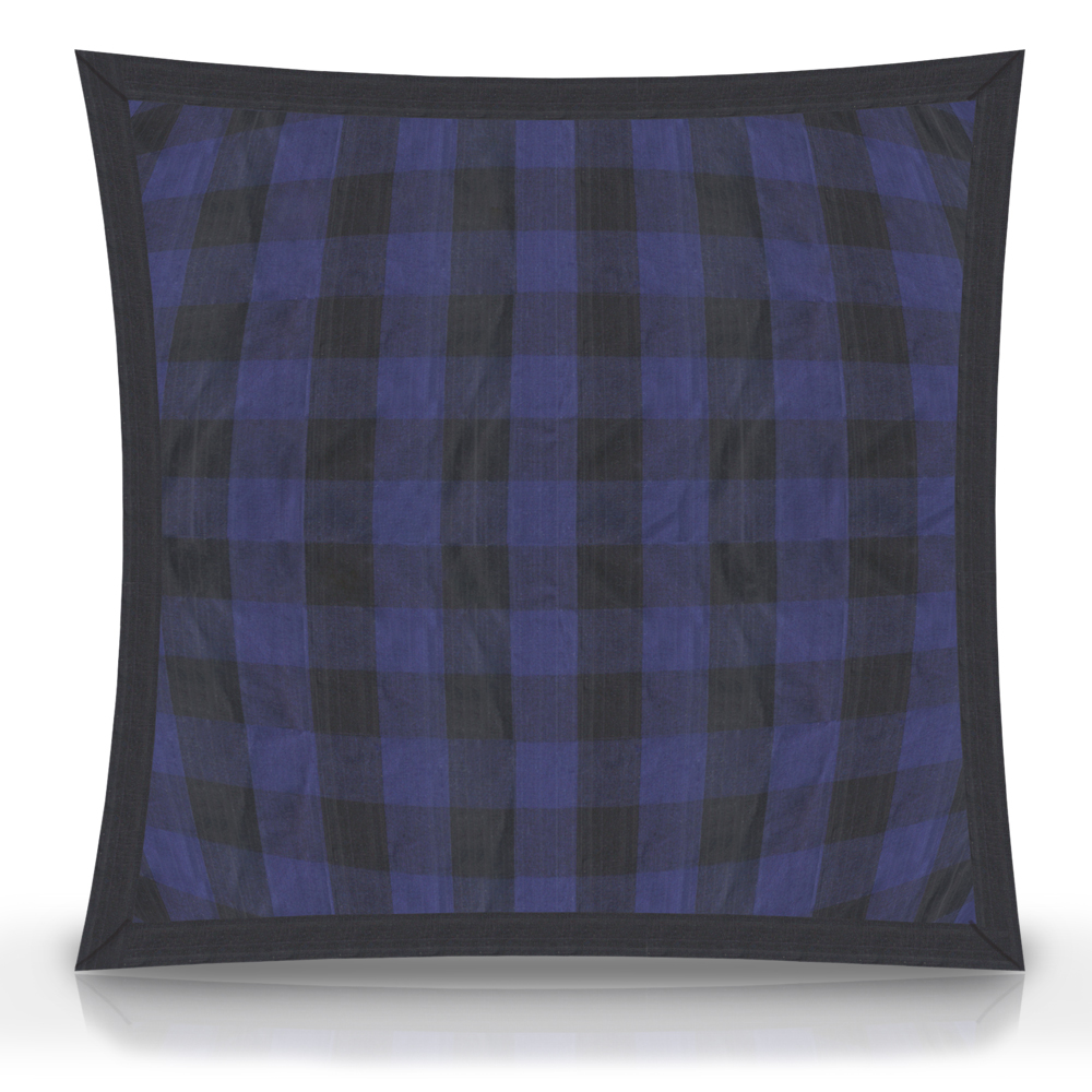 "Blue and Black Twill Buffalo Check,fabric Toss Pillow 16""W x 16""L, Flanged"