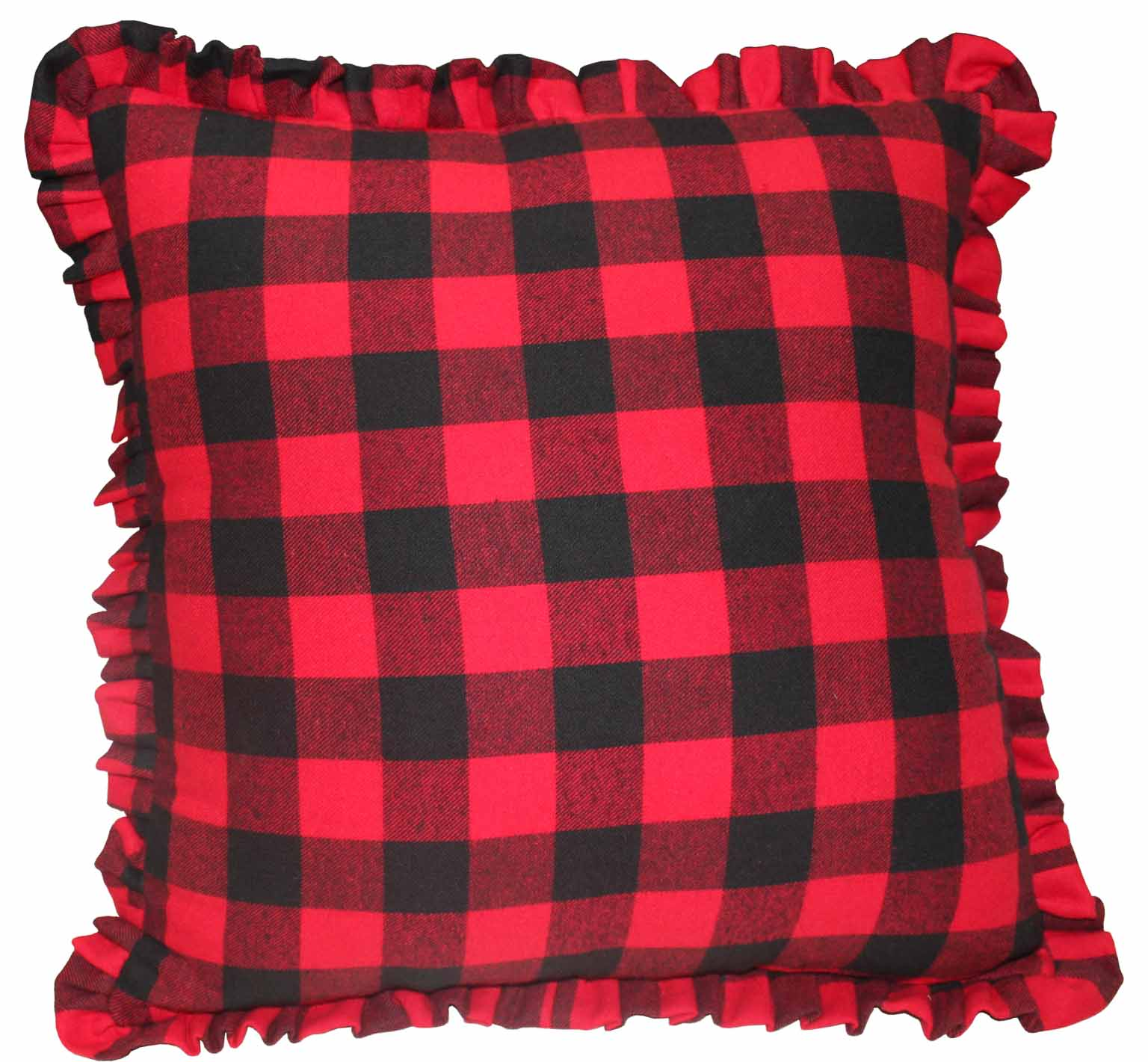 "Red and Black Twill Buffalo Check,Fabric Toss Pillow 16""W x 16""L,Ruffled"